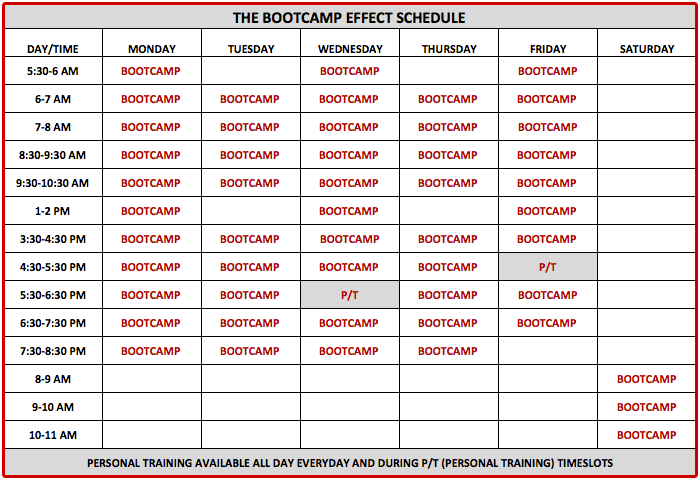 The Bootcamp Effect Class Personal Training Schedule