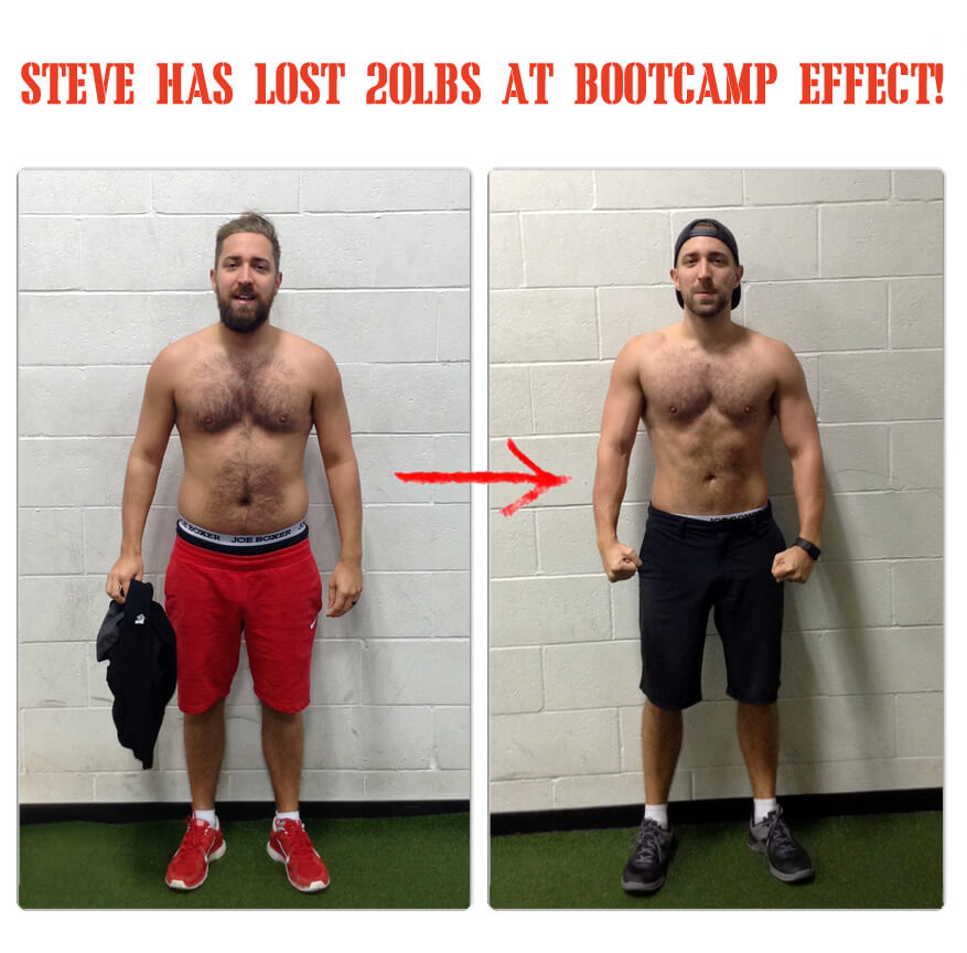 Steve has lost 20lbs at Bootcamp Effect!