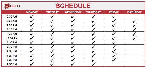befit schedule, gym schedule