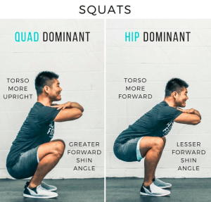 knees over toes squat