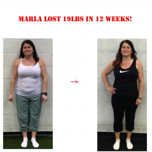 personal training in results, marla before and after